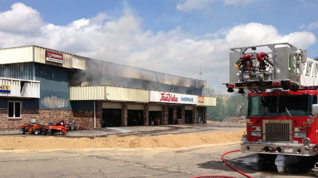 State fire marshal investigating hardware store fire