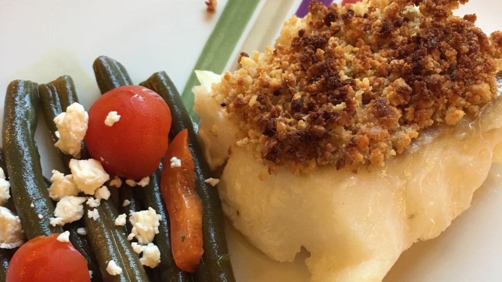 Donna's baked sea bass with walnut crumb crust