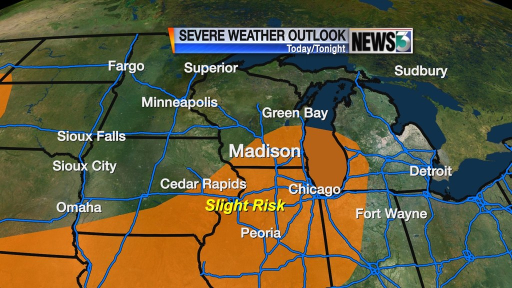 Storms possible as front passes Tuesday