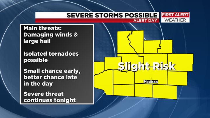 First Alert Day: Potential severe T-storms Thursday