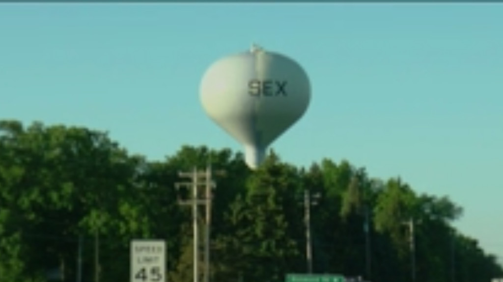 Paint on Sussex water tower greets visitors with 'sex'