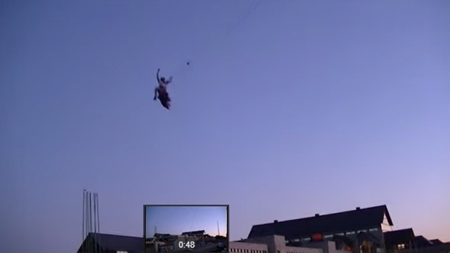 WATCH: Man bungee jumped off crane