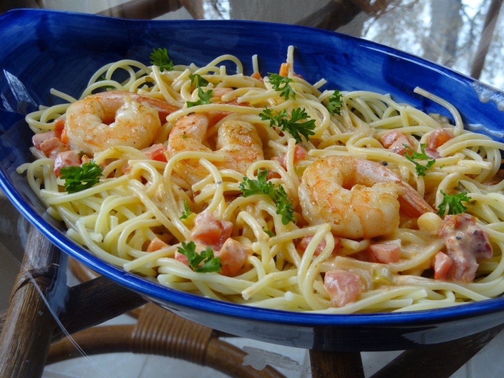 Donna's shrimp, peppers and pasta in tomato cream sauce