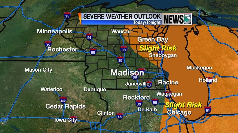 Storm threat moves east on Tuesday