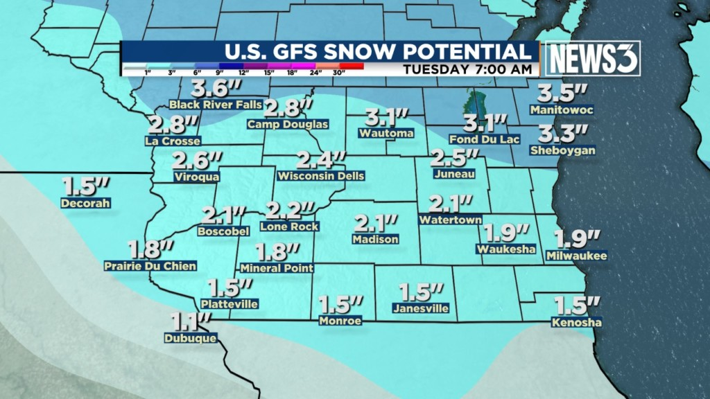 Snow coming back to Wisconsin Monday
