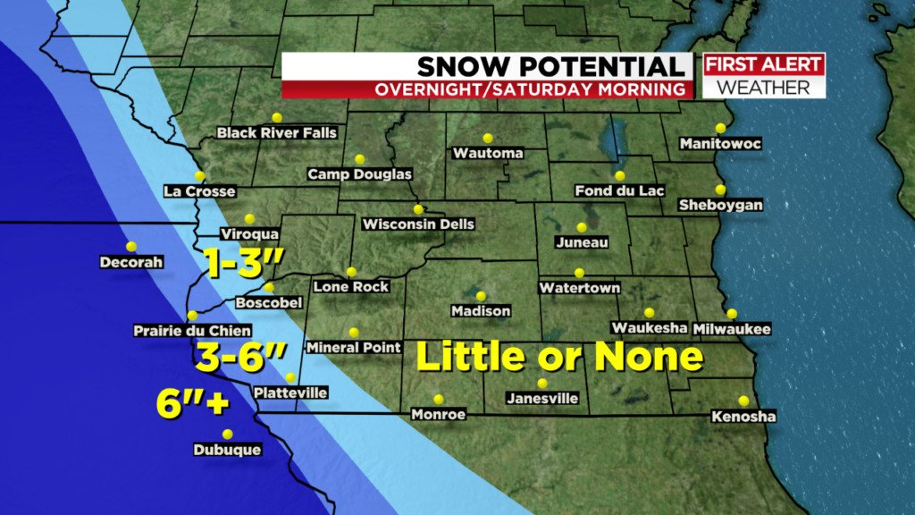 Far southwestern Wisconsin to be hit with late night winter storm