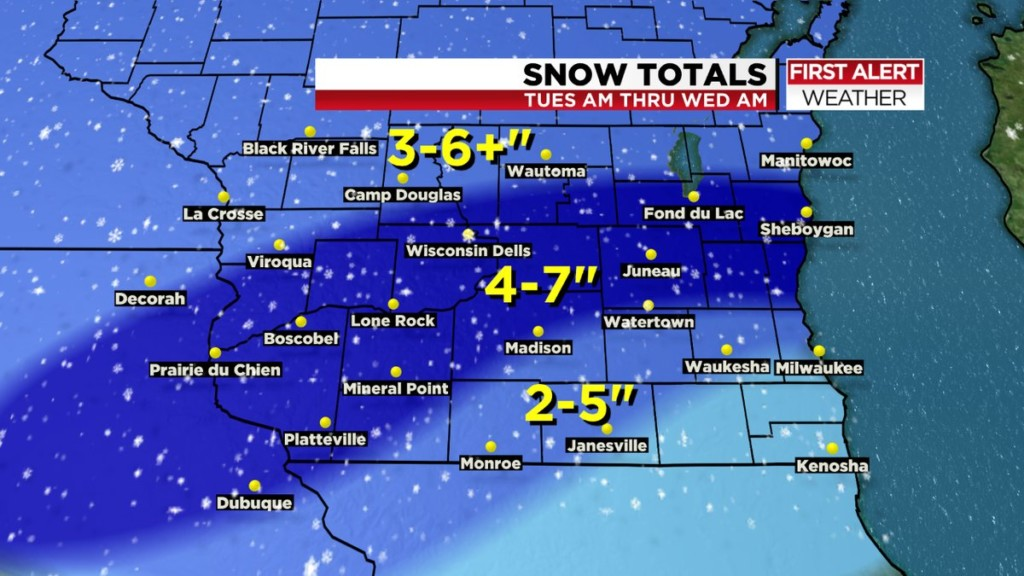 More snow: Accumulation up to 7 inches near Madison possible through Tuesday