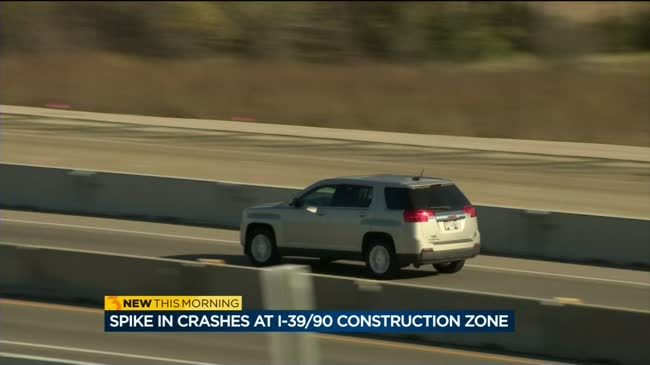 Troopers see spike in crashes at I-39/90 construction zone