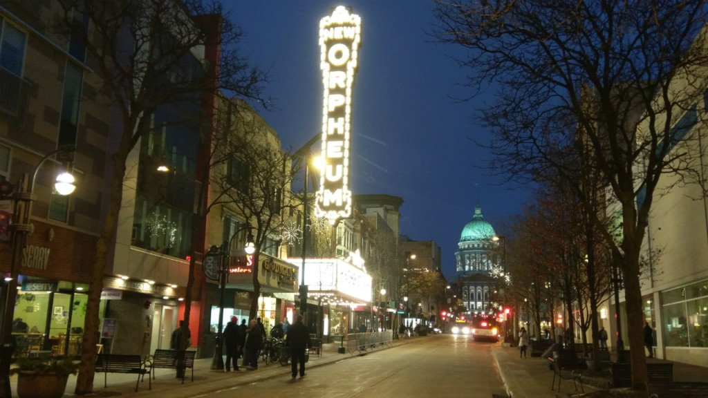 state street illuminated by orpheum sign