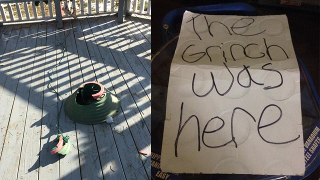 Christmas tree thief leaves note from 'The Grinch'