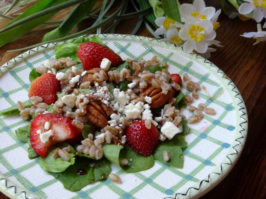Donna's strawberry, feta, farro, avocado and pecan salad