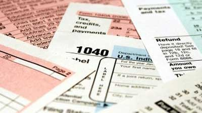 A photo of tax forms