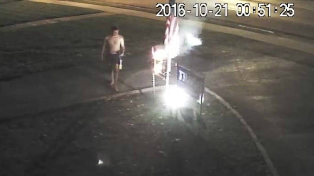 Man arrested after allegedly torching Trump sign