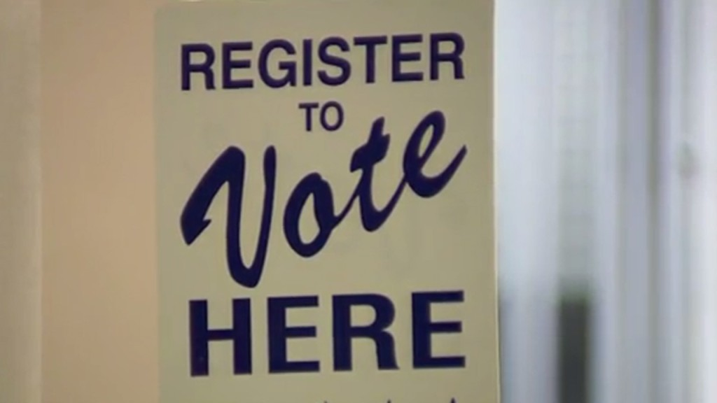 """A generic """"vote here"""" sign"""