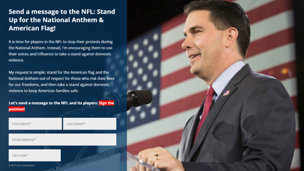 Walker launches petition to compel NFL players to stand for national anthem