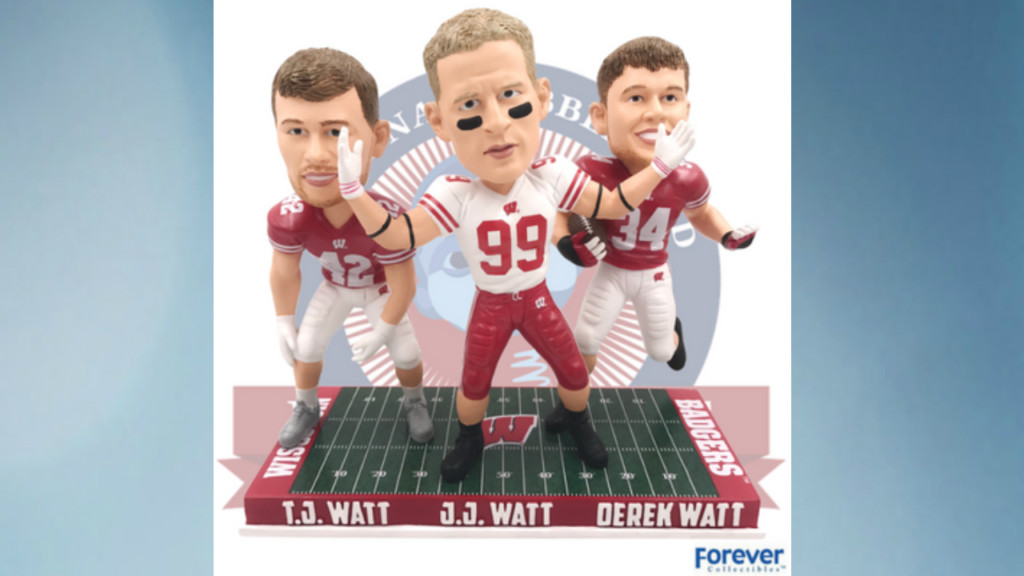 Watt brothers' Badgers bobblehead unveiled