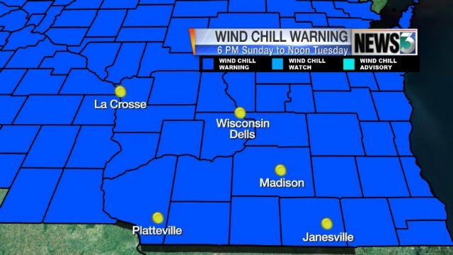 42-hour wind chill warning takes effect  6 p.m. Sunday