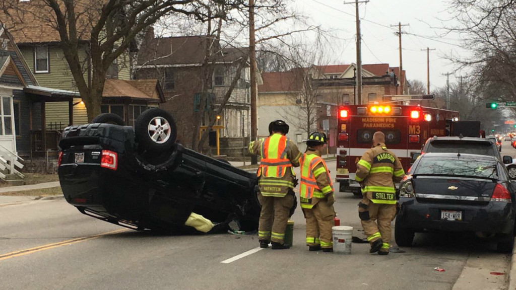 No one injured in Williamson Street rollover crash