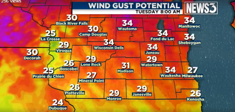Strong winds expected all day Tuesday