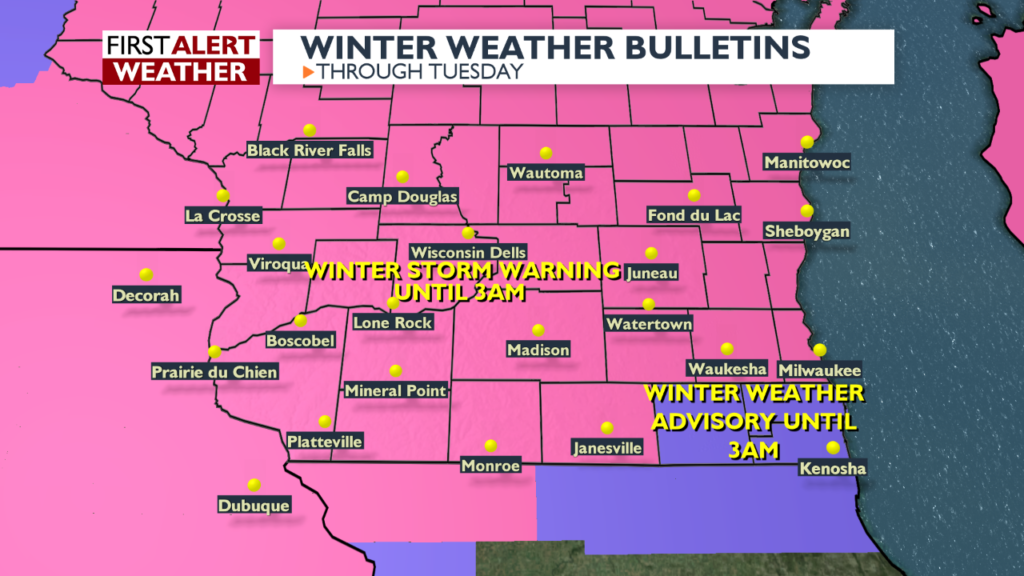 Winter storm warning extended to 3 a.m.; 1-2 more inches expected
