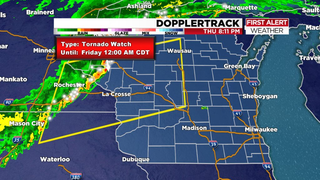 Tornado watch in effect, thunderstorms expected Thursday night