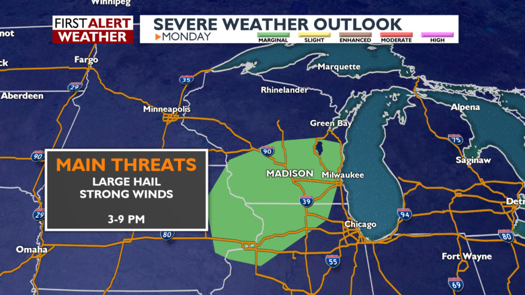 Marginal risk for severe storms Monday