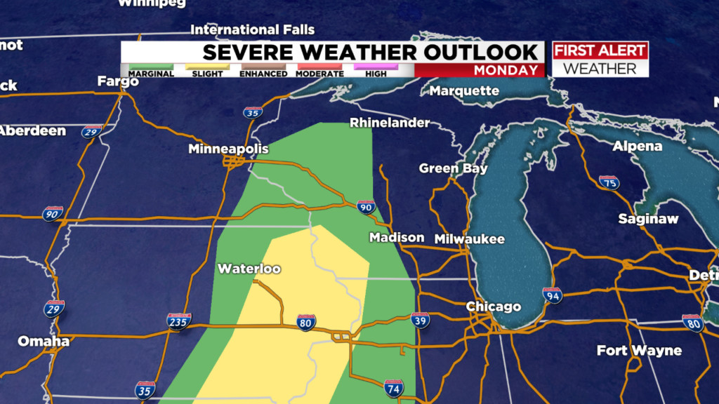 Risk of severe thunderstorms Monday night
