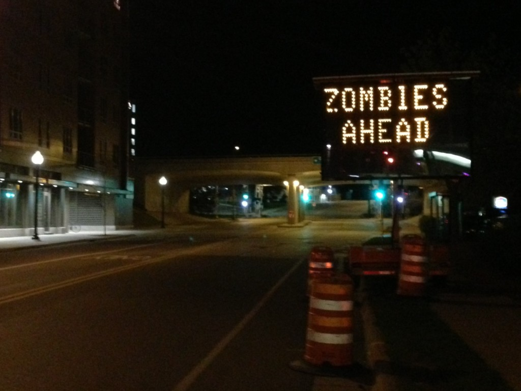 Construction sign hacked to warn drivers of zombies