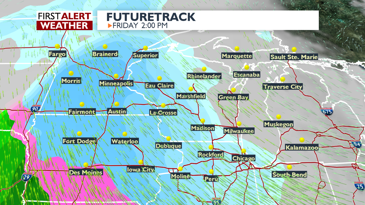 Futuretrack weather graphic for 2pm Friday