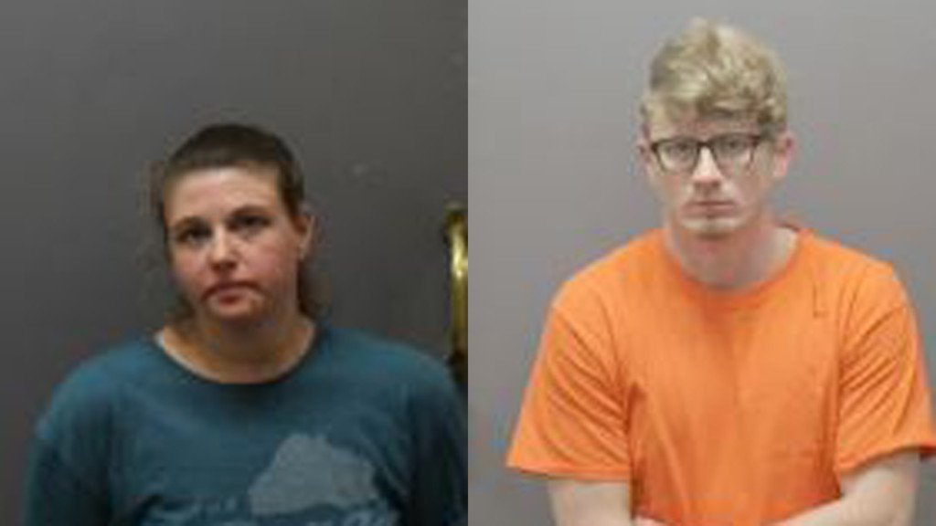 The mugshots of two people arrested in Iowa County