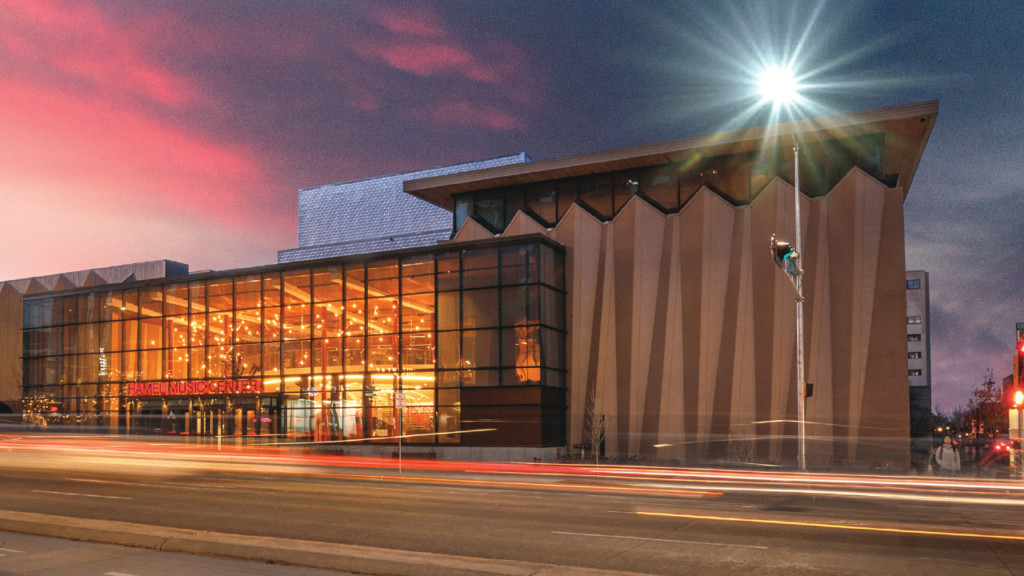 exterior of Hamel Music Center at sunset