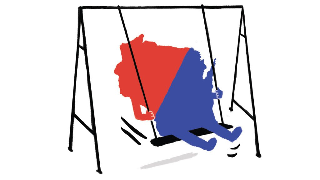 Wisconsin state outline that's half red and half blue. The state is sitting on a swing set