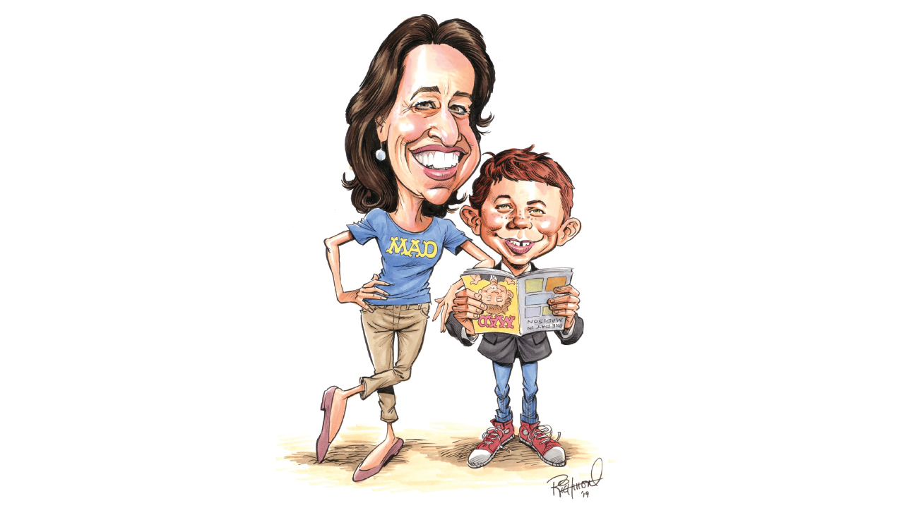 characture of wendy bucci with MAD magazine mascot Alfred E. Neuman