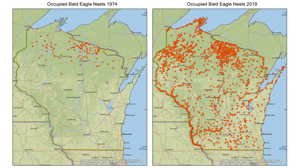 A map showing the locations of bald eagle nests throughout Wisconsin
