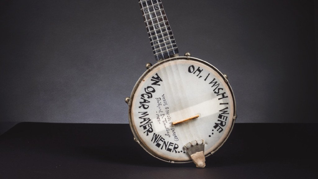 banjo-ukele that was first played to create the Oscar Mayer song, the instrument has some of the words to the theme song