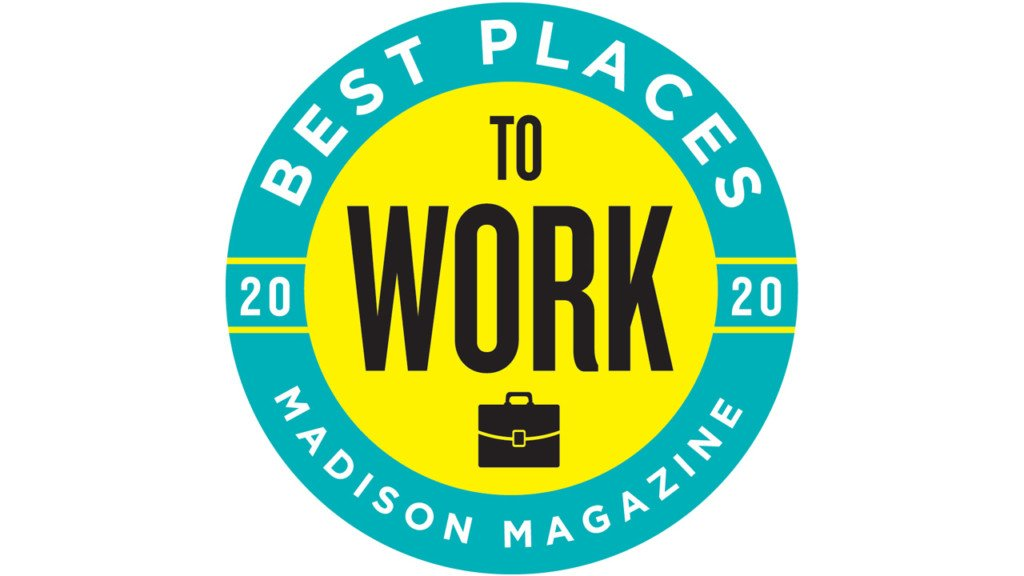 Best Places to Work logo: a yellow circle with a thicker blue outline that reads Best Places to Work Madison Magazine 2020