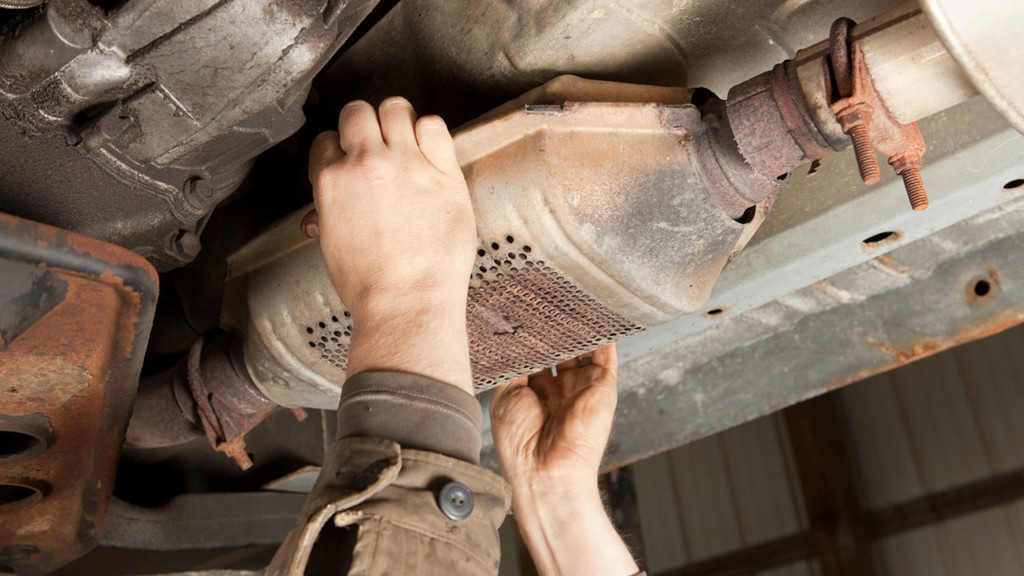 A catalytic converter gets removed from a vehicle