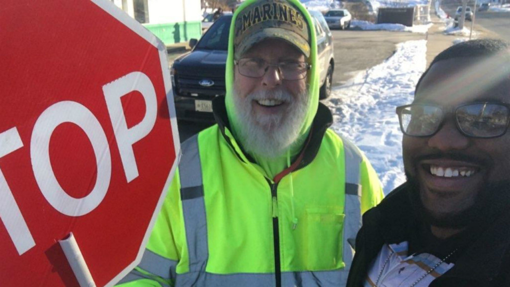 crossing guard and police photo to celebrate