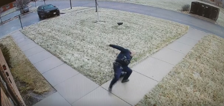 photo of officer slipping from Town of Beloit video