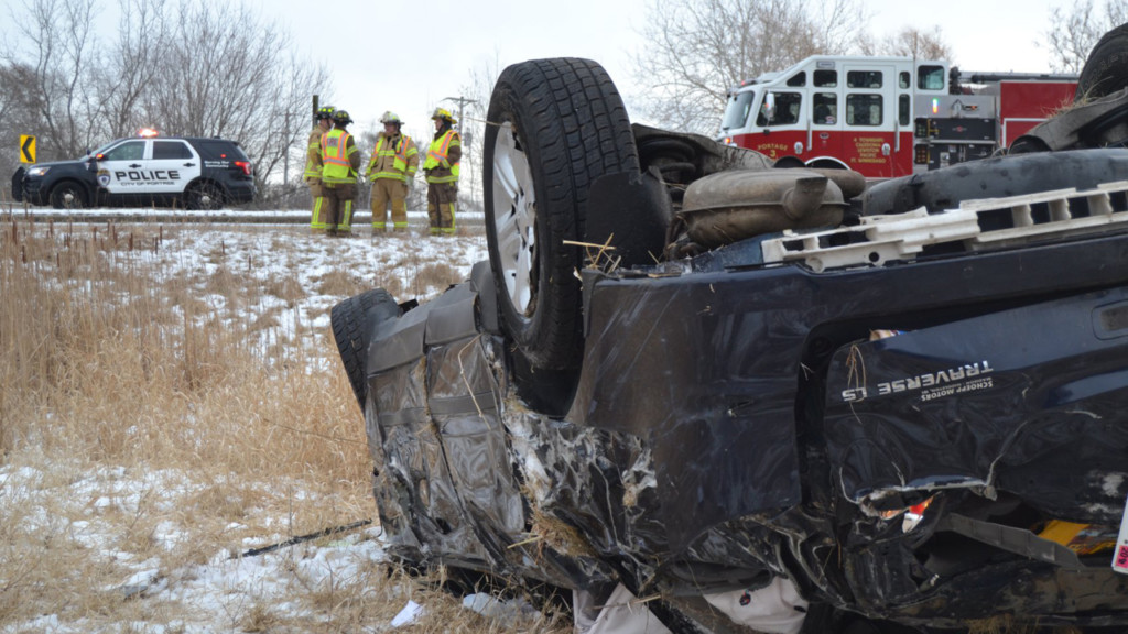A rollover crash in Portage