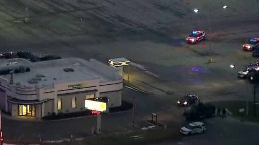 An aerial view of a January hostage situation at a bank in Rockford, Illinois.