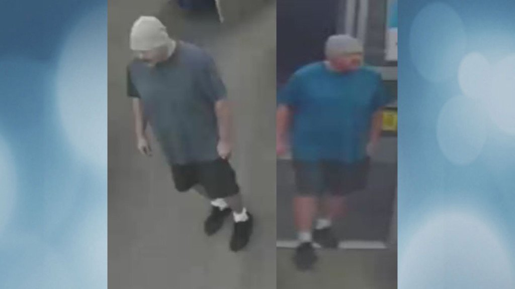 Two surveillance images of a man wearing a blue shirt, shorts and a gray cap