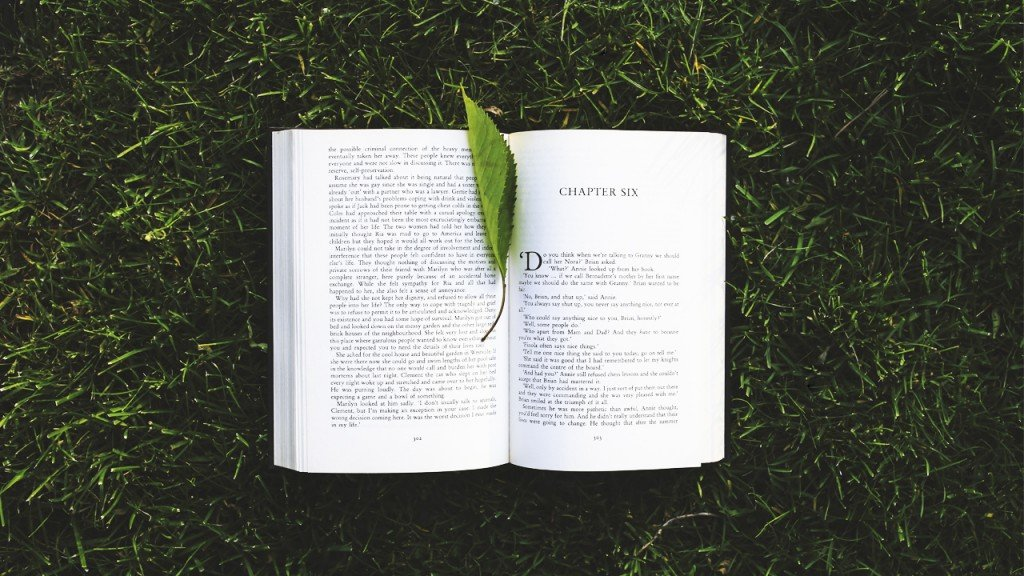 A book laying in the grass with a leaf in the spine that looks like a bookmark