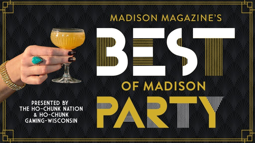 best of Madison party logo featuring an image of a glass and hand
