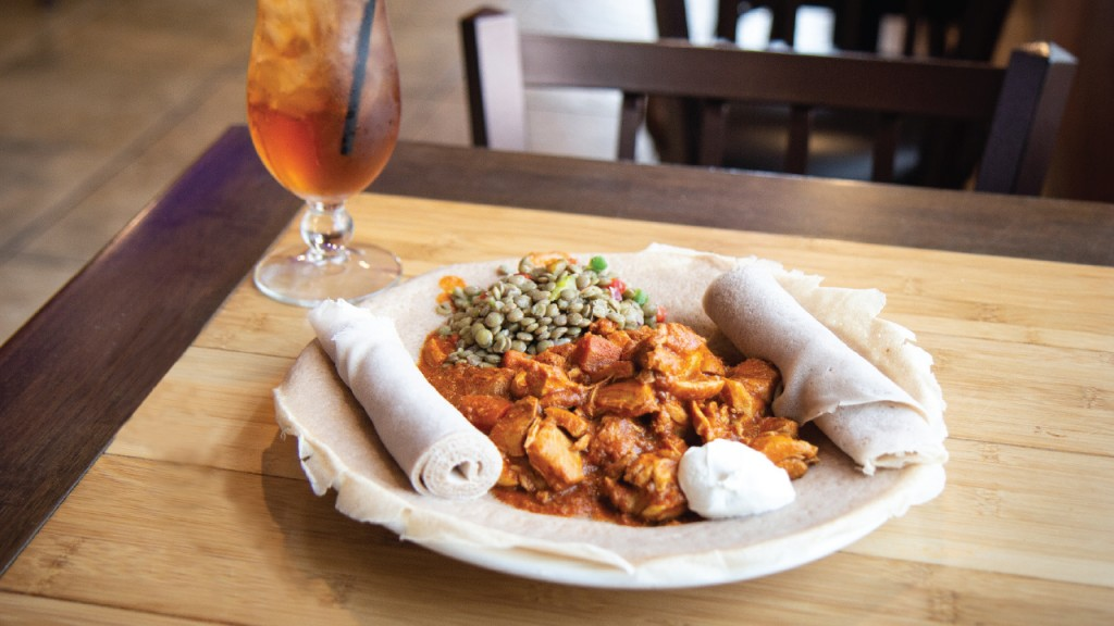 plate of food with a drink at Buraka