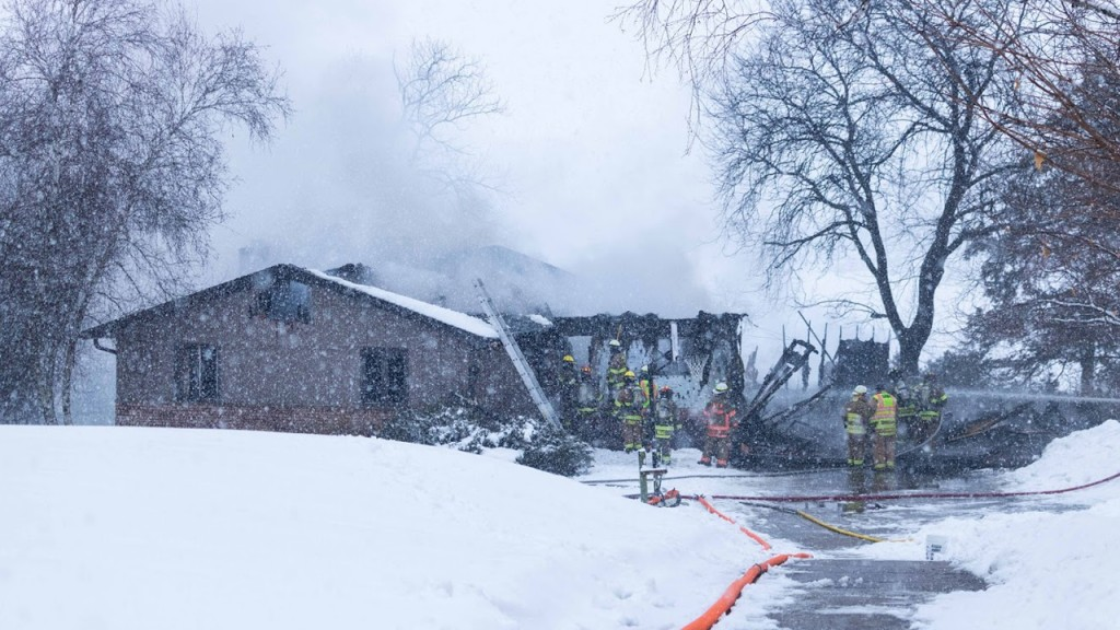 A structure fire in West Point, Wisconsin