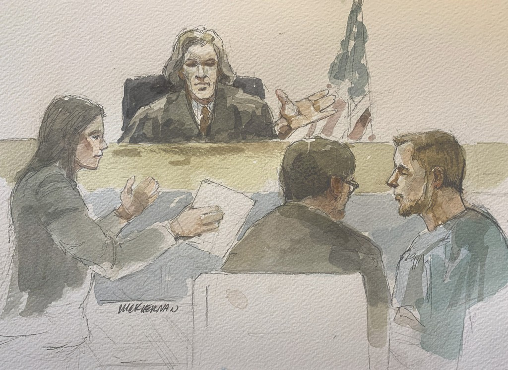 Sketch of Daniel Peggs in federal court