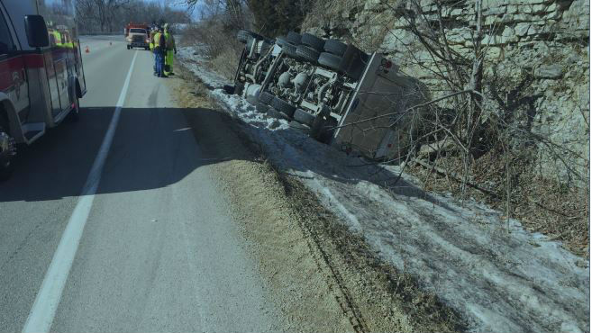 Milk truck tipped over in Grant County