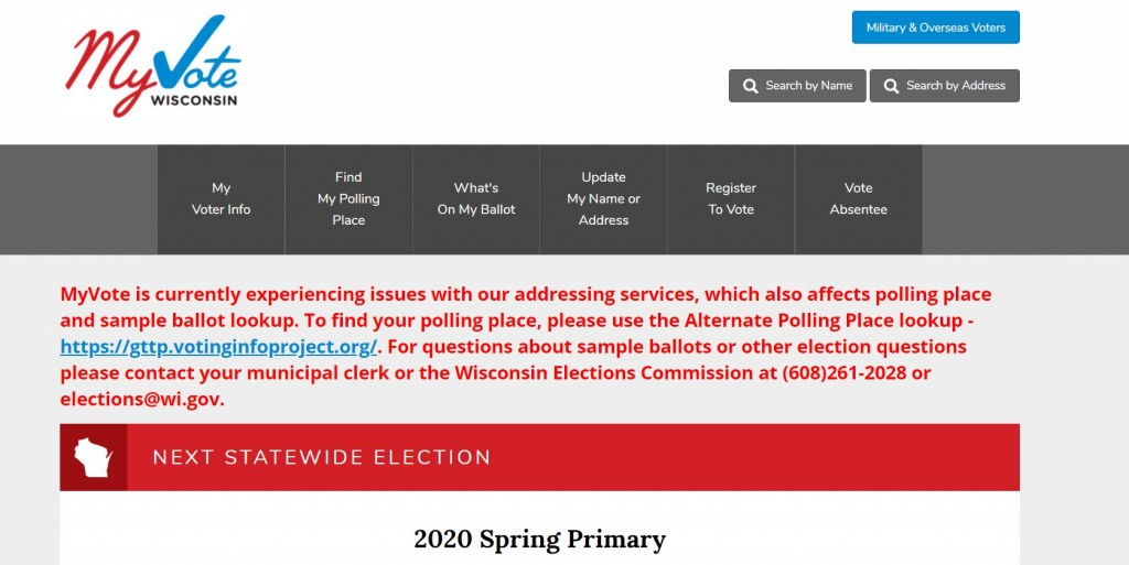 WISCONSIN ELECTIONS COMMISSION WEB PAGE