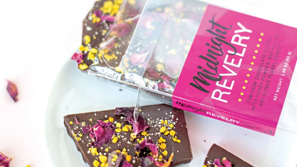 Midnight Revelry chocolate bars on a plate